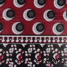Wax Africain N° 297: Motif Petite Roue Noir fond Lie de Vin
