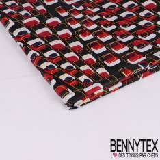 Wax Africain N° 298: Motif Papier Peint Seventies fond Noir