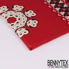 Wax Africain N° 305: Motif Coeurs fond Rouge