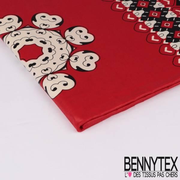 Wax Africain N° 305: Motif coeur fond Rouge