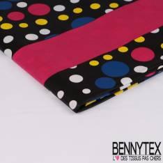 Wax Africain N° 306: Motif Pois Multicolore fond Noir et Fushia