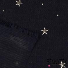 Polyester avec Petites Etoiles Argent Embossées fond Marine