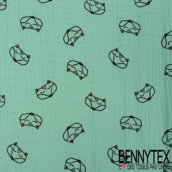 Coton Double Gaze Vert d'eau Motif Tête de Renard Origami Coloris Noir
