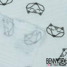 Coton Double Gaze Blanc Motif Tête de Renard Origami Coloris Noir