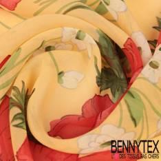 Crêpe Georgette de Soie Coquelicot rouge fond Jaune Pastel en 100% soie