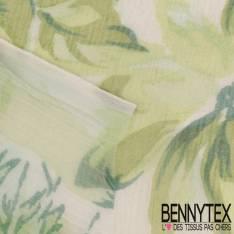 Mousseline de Soie Imprimée Champêtre Vert Amande fond Ecru