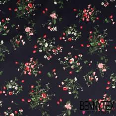 Satin de Coton imprimé Bouquet Fleurs des Champs fond Marine