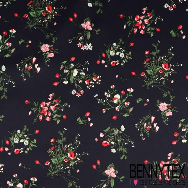 satin de coton imprim bouquet fleurs des champs fond marine bennytex vente de tissus pas cher. Black Bedroom Furniture Sets. Home Design Ideas