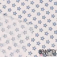 Coton Impression Petites étoiles bleu dégradé fond blanc