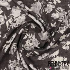 Fibranne Viscose Imprimé Fleurs en solarisation fond Denim Noir