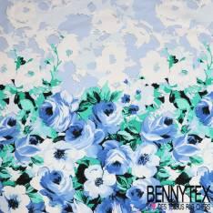 Satin de Coton Base Imprimé Rose Camaïeu Bleu fond Blanc