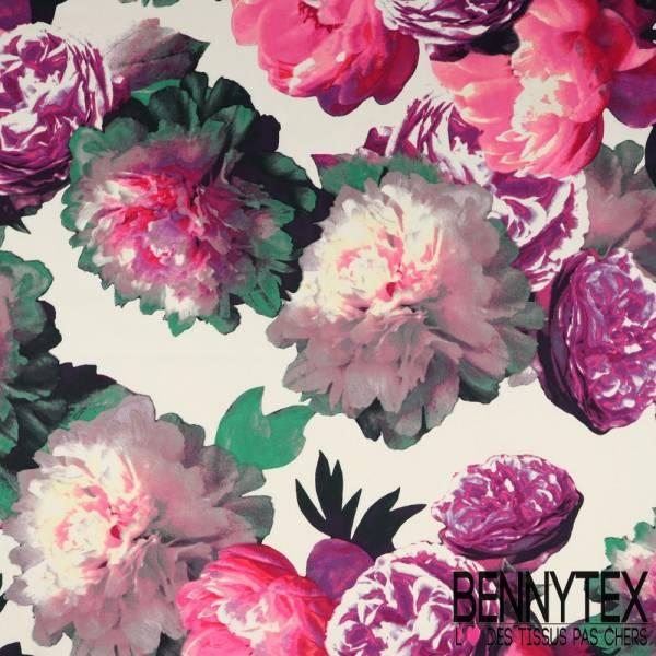 Satin de Coton Base Imprimé Grosses Fleurs Rose Dégradée Violet fond Blanc
