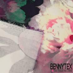 Satin de Coton Base Imprimé Fleurs Rose Dégradée fond Blanc