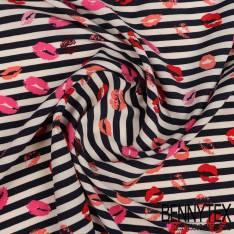 Polyester Elasthanne Imprimé Rayure Navy Bisous de Rouge à Lèvre