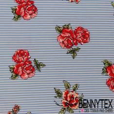 Polyester Elasthanne Imprimé Rayure Fine Ciel Motif Paire de Rose Rouge