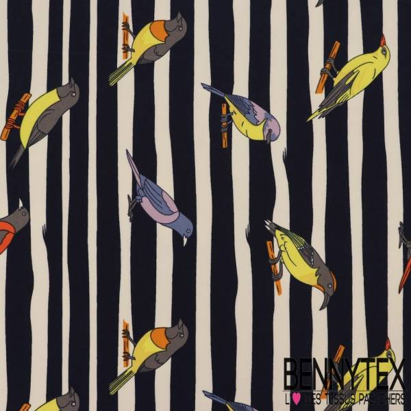 Polyester Elasthanne Imprimé Rayure Large Navy Motif Oiseaux