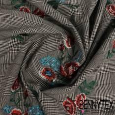 Coton Polyester Prince de Galle Brodé Rose Rouge