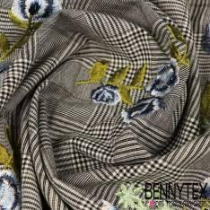 Coton Polyester Prince de Galle Brodé Rose Bleue