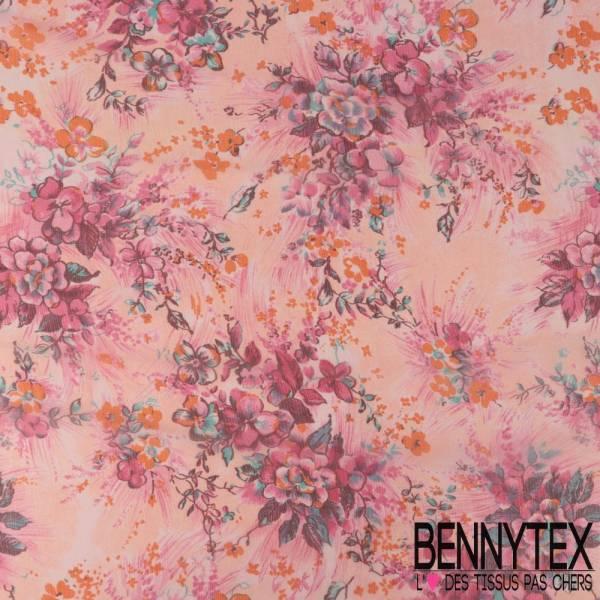 Mousseline de Soie Imprimée Petit Bouquet de Fleurs Artifices Camaïeu de Rose