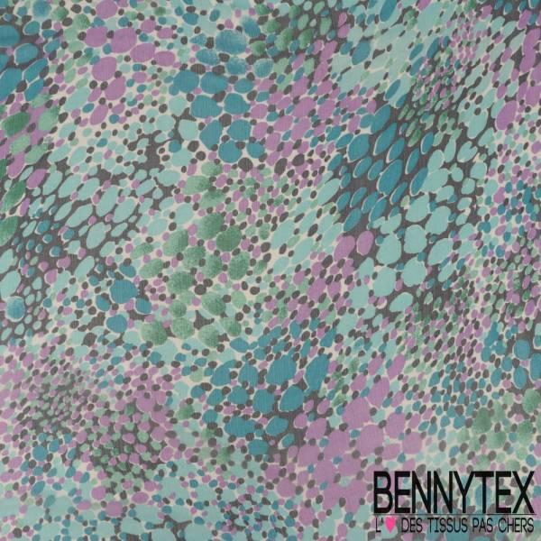 Mousseline de Soie Imprimée Pointillisme Camaïeu Bleu et Violet fond Blanc