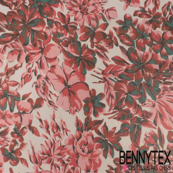 Mousseline de Soie Imprimée Grosses Fleurs Rouge et Rose fond Ecru