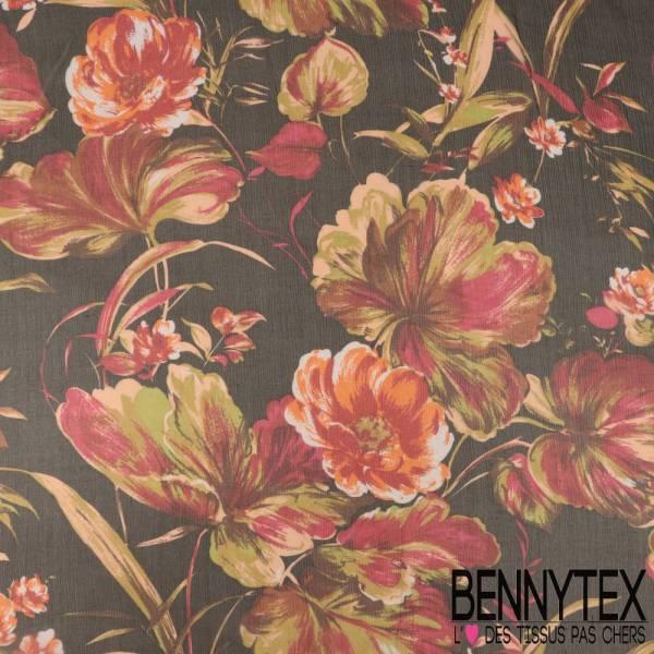 Mousseline de Soie Imprimée Grosses Fleurs Effet Peinture fond Noir