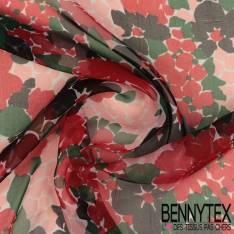 Mousseline de Soie Imprimée Fleurs Rouge Rose et Noire fond Ecru