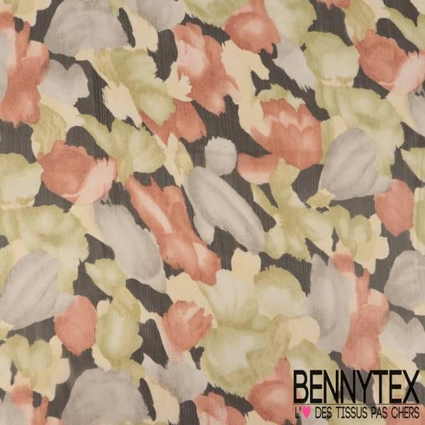 Mousseline de Soie Imprimée Tropicale Fleurs des Îles fond multicolore