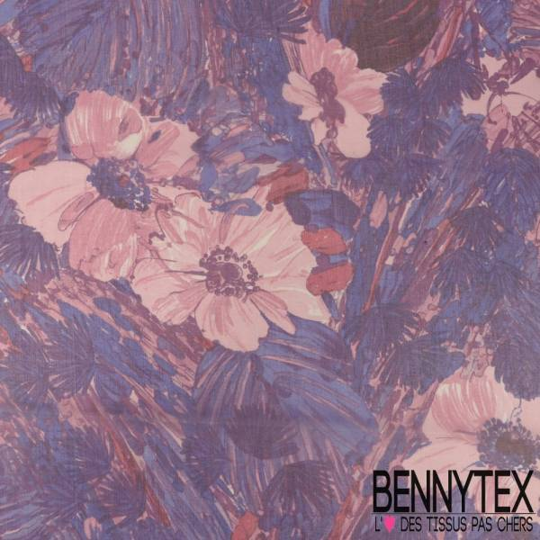 Mousseline de Soie Imprimée Tâche de peinture Imitation Fleurs fond Noir