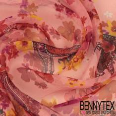 Mousseline de Soie Imprimée Grosses Fleurs Rouges Feuilles Grises Baroque fond Noir