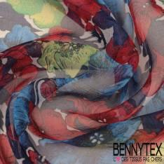 Mousseline de Soie Imprimée Coquelicot Multicolore fond écru