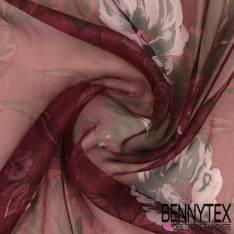 Mousseline de Soie Imprimée Frises Baroques Vertes fond Violet