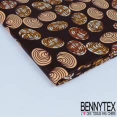 Wax Africain N° 307: Motif Fleurs en spirale avec serpentin fond imprimé cravate bleu
