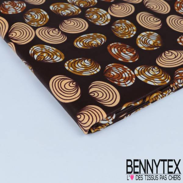 Wax Africain N° 308: Motif Coquillage Marbré fond chocolat