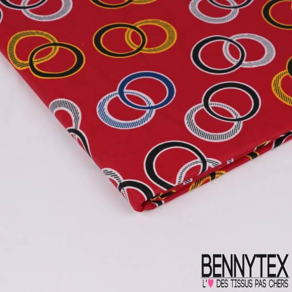 Wax Africain N° 309: Motif Anneaux entrecroisés fond Rouge