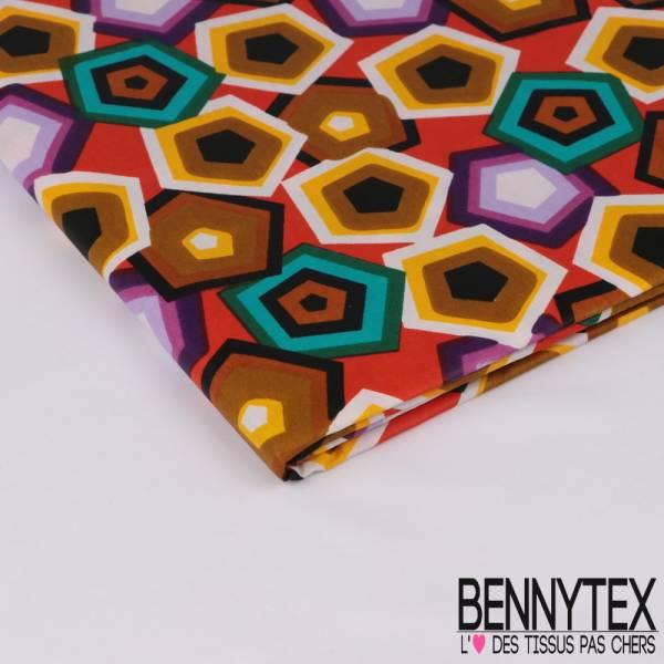 Wax Africain N° 310: Motif Hexagone Psychédélique fond Mandarine