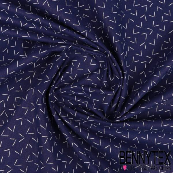 Coton Impression Petit V Stylisé Blanc fond Bleu Outremer