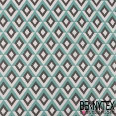 Coton Impression Géométrique Losange Camaïeu de gris
