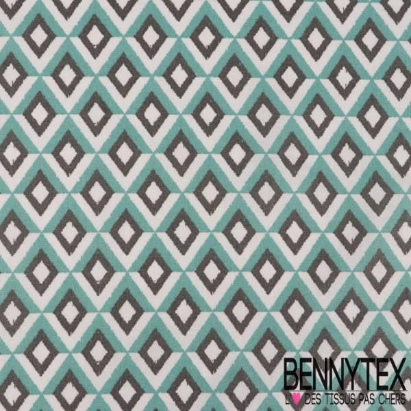 fc1965cf3a01 Toile Lorraine 100% coton Impression Géométrique Losange Camaïeu de Bleu