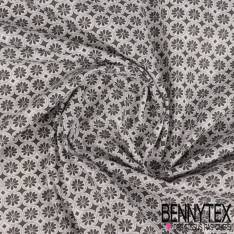 Coton Impression Petite Fleur Grise dans Rond Perle fond Ecru