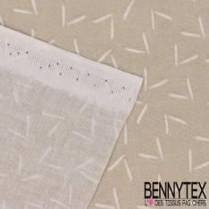 Toile Lorraine 100% coton Impression Petit V Stylisé Blanc fond Perle