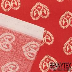 Toile Lorraine 100% coton Impression Petites Poules dans Coeur Blanc fond Rouge