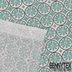 Toile Lorraine 100% coton Impression Petite Fleur Givré dans Rond anthracite fond blanc