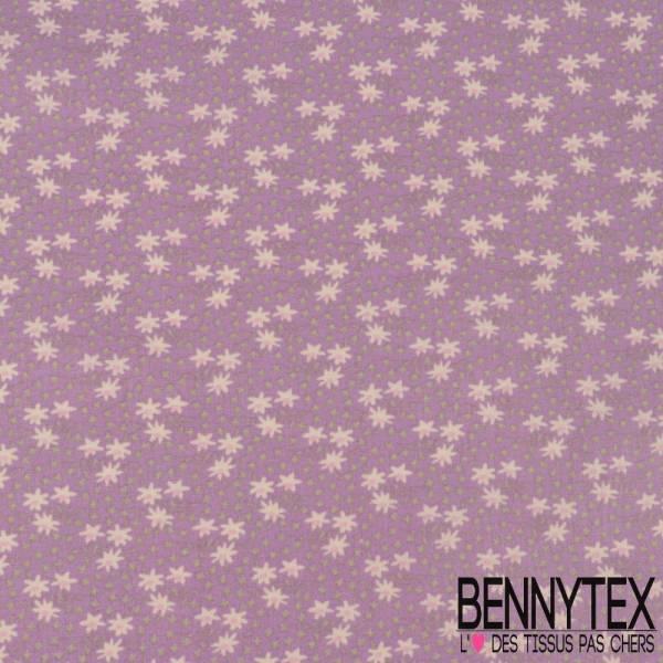 Toile Lorraine 100% coton Impression Petite Fleur Blanche et Vert Amande fond Parme