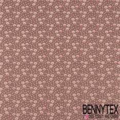 Toile Lorraine 100% coton Impression Petite Fleur Blanche et Rose pastel fond Taupe