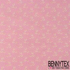 Toile Lorraine 100% coton Impression Petite Fleur Blanche et Rose pastel fond Rose Malabar