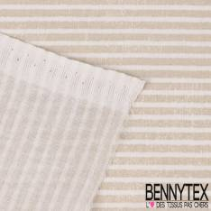 Toile Lorraine 100% coton Impression Rayure esprit Marin Perle et Blanc effet Usé