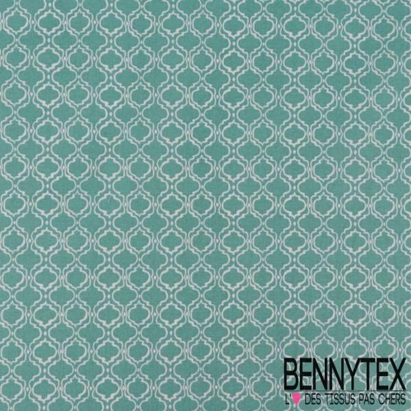 Toile Lorraine 100% coton Impression Motif Baroque Blanc fond Bleu Bondi