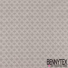 Toile Lorraine 100% coton Impression Motif Baroque Blanc fond Gris Perle