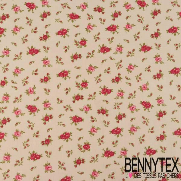 Toile Lorraine 100% coton Impression Petites roses Fushia fond Lin